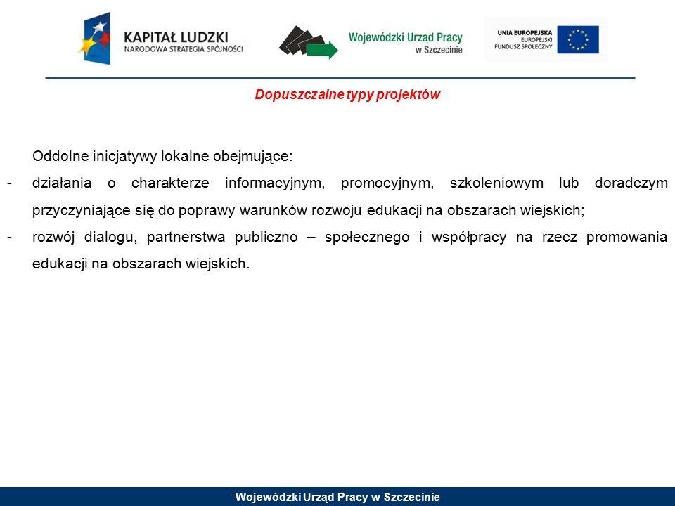 Wojewódzki Urząd Pracy w Szczecinie Dopuszczalne typy projektów Oddolne inicjatywy lokalne obejmujące: -działania o charakterze informacyjnym, promocy