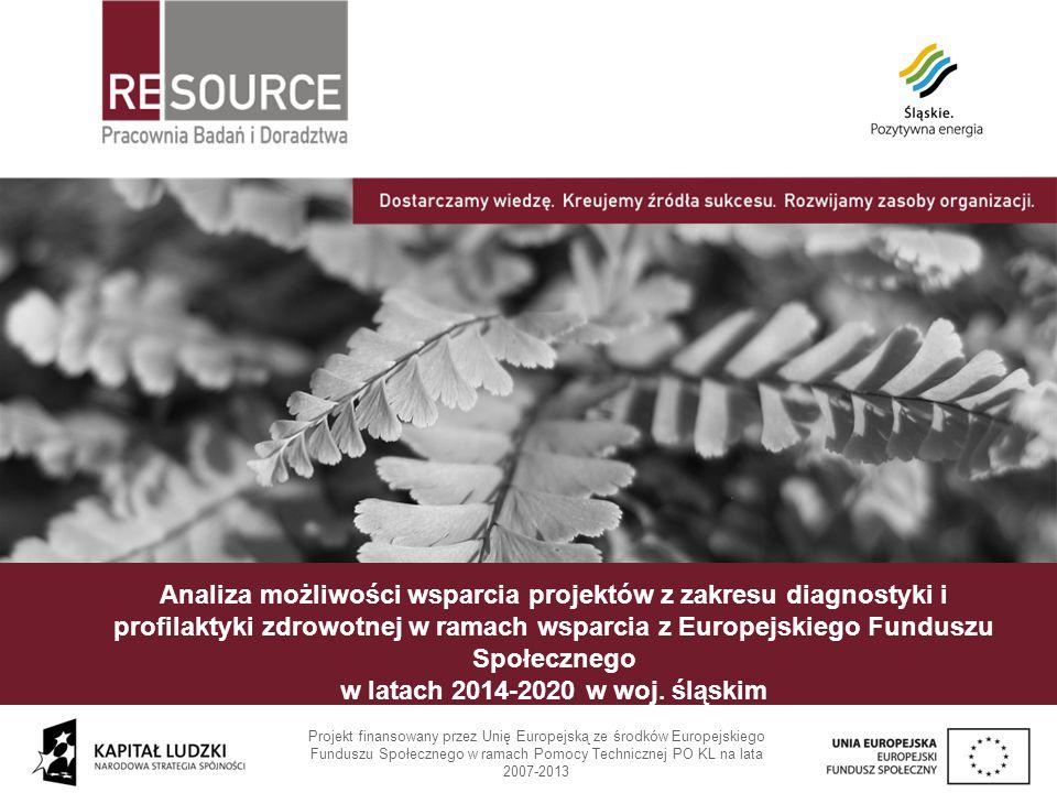 Analiza możliwości wsparcia projektów z zakresu diagnostyki i profilaktyki zdrowotnej w ramach wsparcia z Europejskiego Funduszu Społecznego w latach