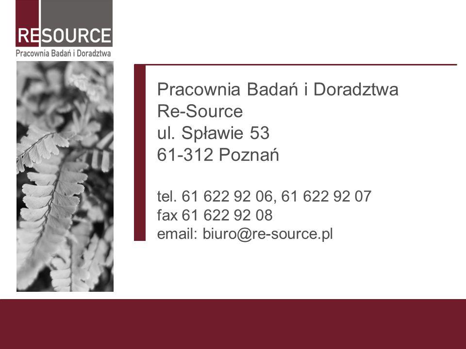 Pracownia Badań i Doradztwa Re-Source ul. Spławie 53 61-312 Poznań tel. 61 622 92 06, 61 622 92 07 fax 61 622 92 08 email: biuro@re-source.pl