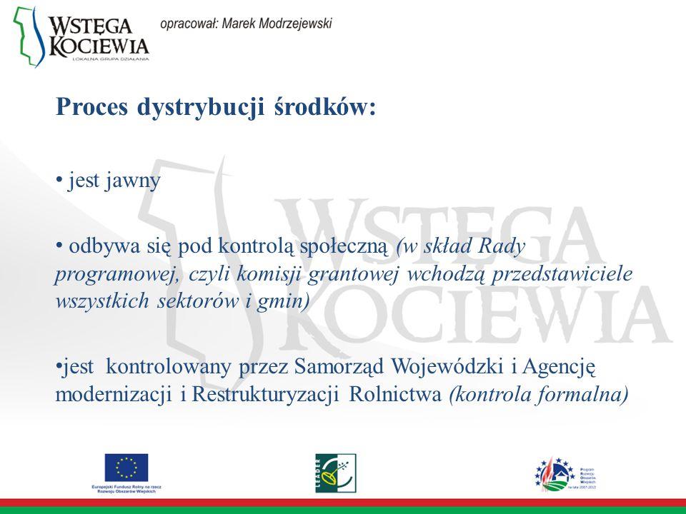 Proces dystrybucji środków: jest jawny odbywa się pod kontrolą społeczną (w skład Rady programowej, czyli komisji grantowej wchodzą przedstawiciele wszystkich sektorów i gmin) jest kontrolowany przez Samorząd Wojewódzki i Agencję modernizacji i Restrukturyzacji Rolnictwa (kontrola formalna)