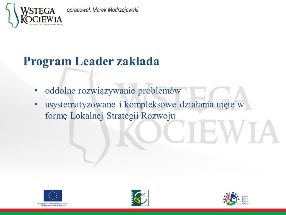 Program Leader zakłada oddolne rozwiązywanie problemów usystematyzowane i kompleksowe działania ujęte w formę Lokalnej Strategii Rozwoju