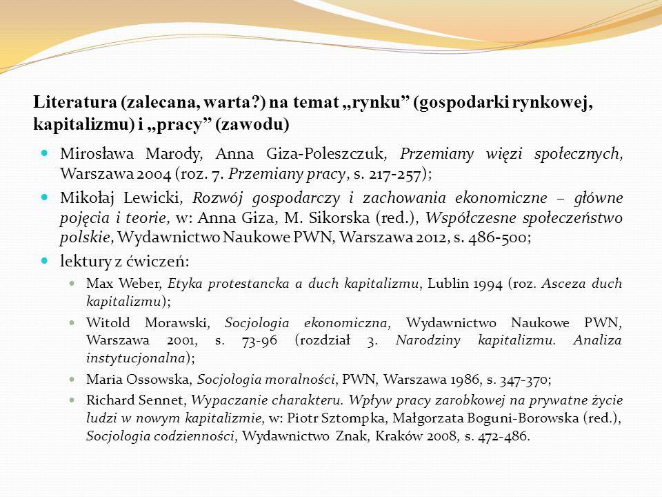 """Literatura (zalecana, warta?) na temat """"rynku"""" (gospodarki rynkowej, kapitalizmu) i """"pracy"""" (zawodu) Mirosława Marody, Anna Giza-Poleszczuk, Przemiany"""