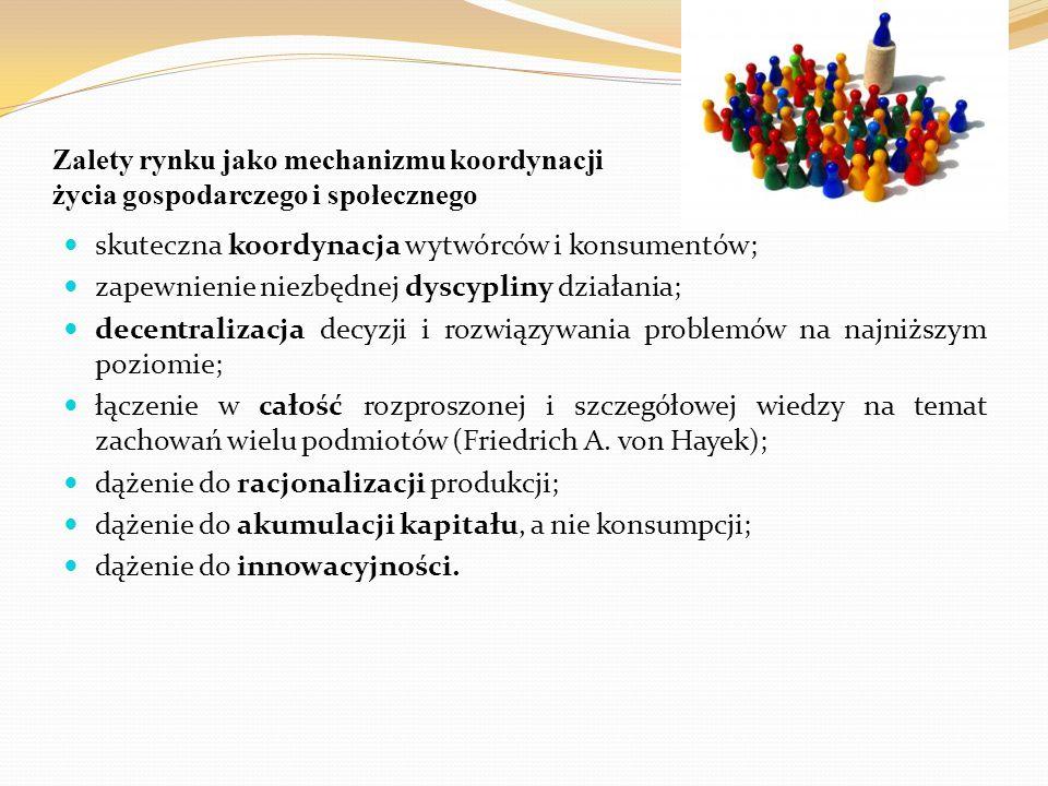 Zalety rynku jako mechanizmu koordynacji życia gospodarczego i społecznego skuteczna koordynacja wytwórców i konsumentów; zapewnienie niezbędnej dyscy