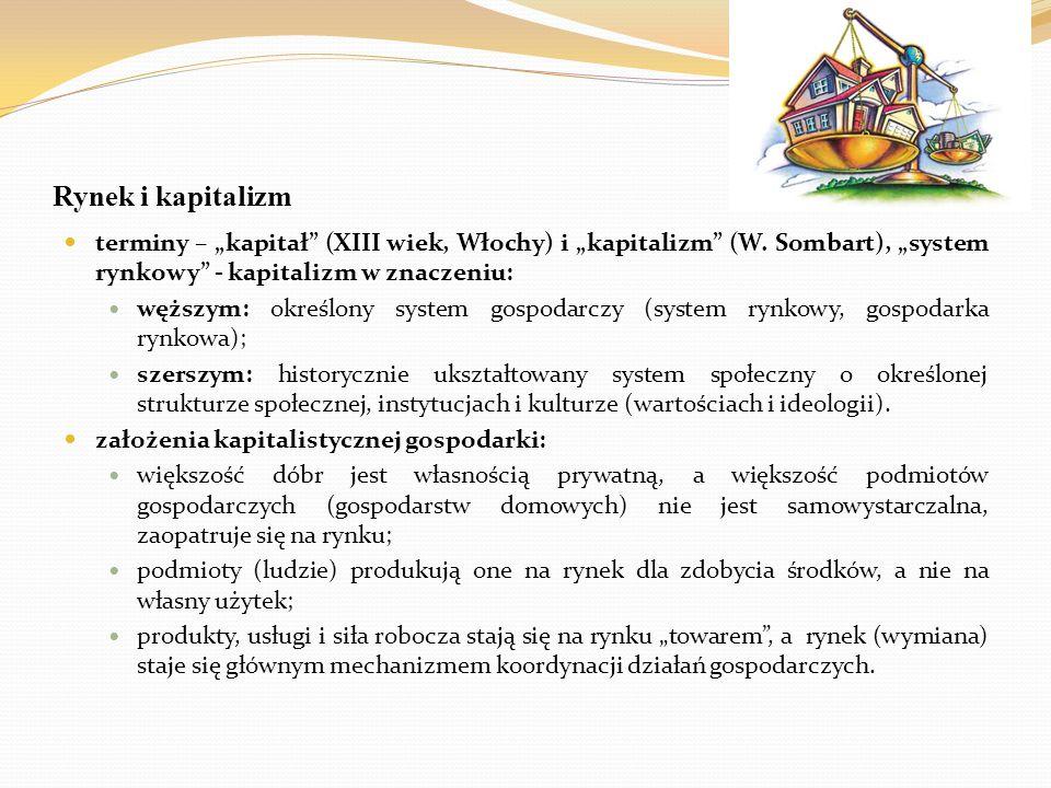 """Rynek i kapitalizm terminy – """"kapitał"""" (XIII wiek, Włochy) i """"kapitalizm"""" (W. Sombart), """"system rynkowy"""" - kapitalizm w znaczeniu: węższym: określony"""