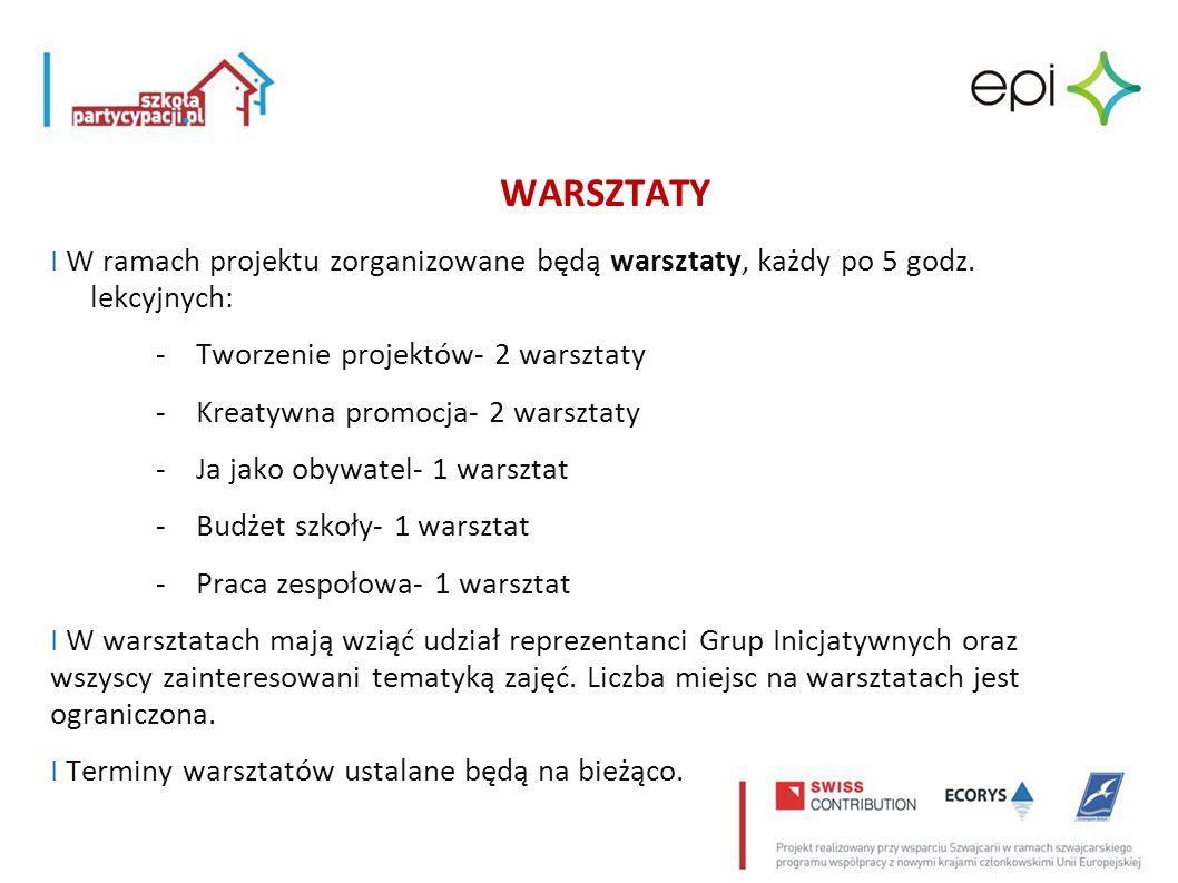 WARSZTATY I W ramach projektu zorganizowane będą warsztaty, każdy po 5 godz. lekcyjnych: - Tworzenie projektów- 2 warsztaty -Kreatywna promocja- 2 war