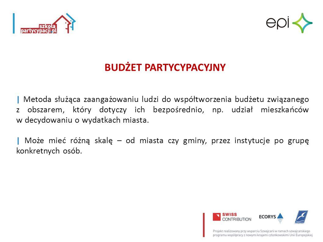 | Metoda służąca zaangażowaniu ludzi do współtworzenia budżetu związanego z obszarem, który dotyczy ich bezpośrednio, np. udział mieszkańców w decydow