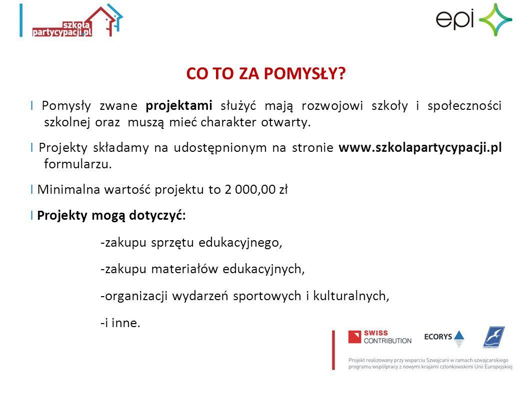 WZÓR FORMULARZA WNIOSKU I Formularz wniosku do pobrania znajduje się na stronie internetowej projektu: www.szkolapartycypacji.pl I Formularz wniosku jest zapisany w formacie Excel.