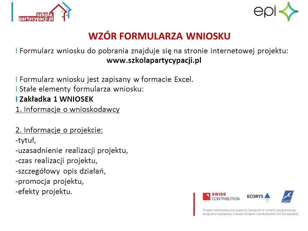 WZÓR FORMULARZA WNIOSKU I Formularz wniosku do pobrania znajduje się na stronie internetowej projektu: www.szkolapartycypacji.pl I Formularz wniosku j