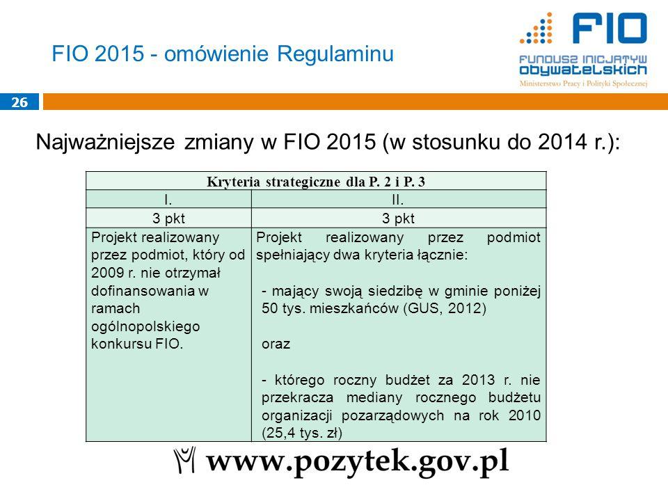 26 Najważniejsze zmiany w FIO 2015 (w stosunku do 2014 r.): Kryteria strategiczne dla P. 2 i P. 3 I.II. 3 pkt Projekt realizowany przez podmiot, który