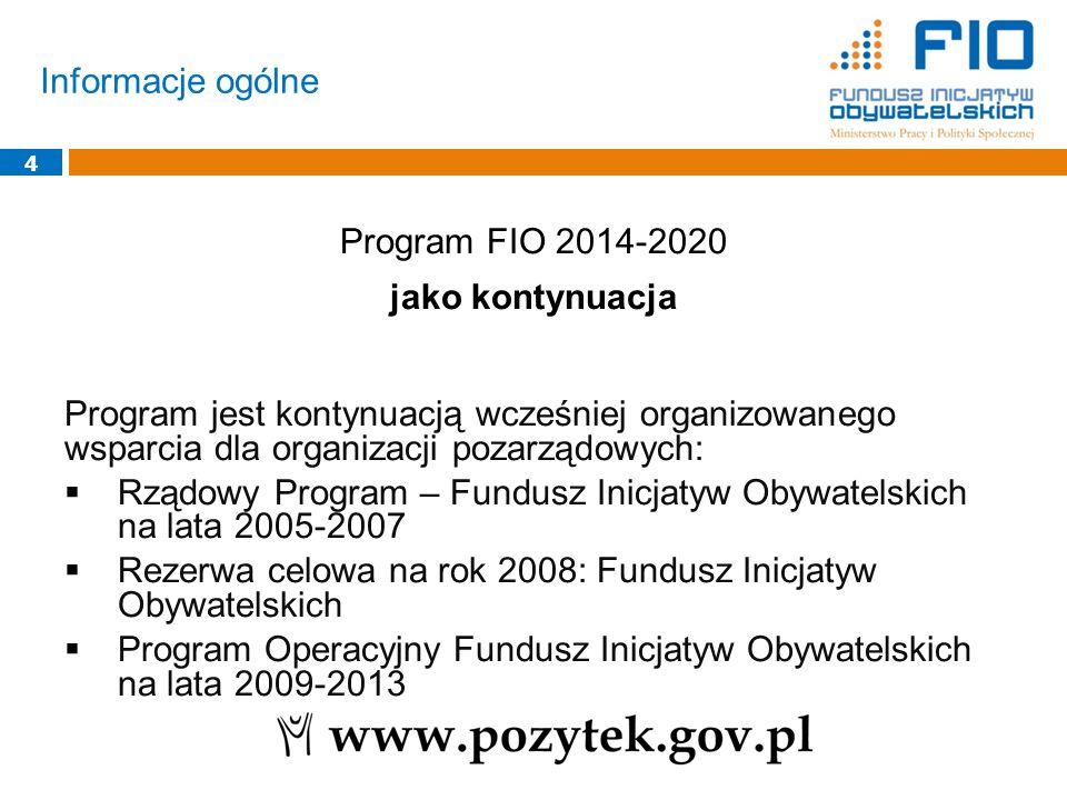 Informacje ogólne 4 Program FIO 2014-2020 jako kontynuacja Program jest kontynuacją wcześniej organizowanego wsparcia dla organizacji pozarządowych: 