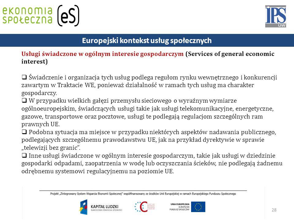 28 Usługi świadczone w ogólnym interesie gospodarczym (Services of general economic interest)  Świadczenie i organizacja tych usług podlega regułom rynku wewnętrznego i konkurencji zawartym w Traktacie WE, ponieważ działalność w ramach tych usług ma charakter gospodarczy.