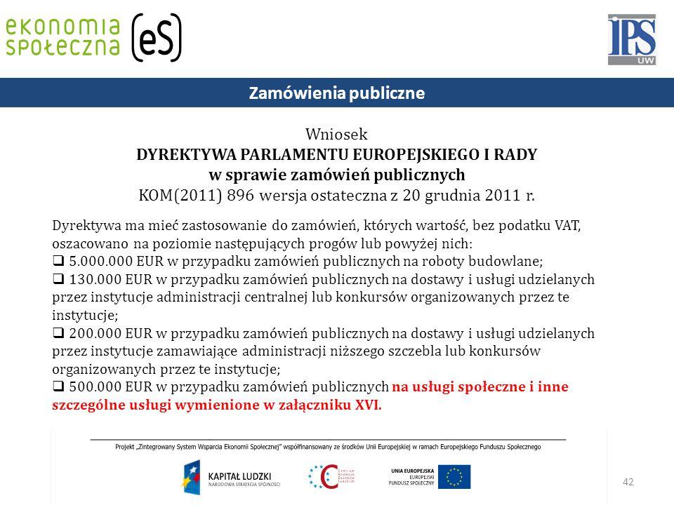 42 Wniosek DYREKTYWA PARLAMENTU EUROPEJSKIEGO I RADY w sprawie zamówień publicznych KOM(2011) 896 wersja ostateczna z 20 grudnia 2011 r.