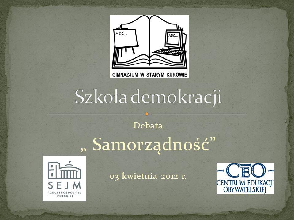 "Debata "" Samorządność 03 kwietnia 2012 r."