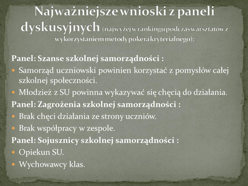 Panel: Szanse szkolnej samorządności : Samorząd uczniowski powinien korzystać z pomysłów całej szkolnej społeczności.