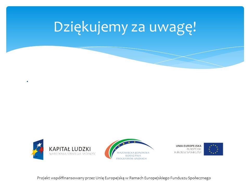 . Dziękujemy za uwagę! Projekt współfinansowany przez Unię Europejską w Ramach Europejskiego Funduszu Społecznego