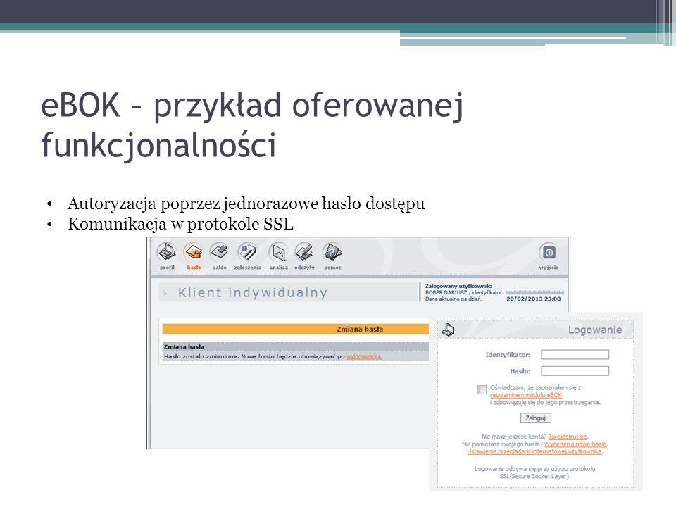 eBOK – przykład oferowanej funkcjonalności Autoryzacja poprzez jednorazowe hasło dostępu Komunikacja w protokole SSL