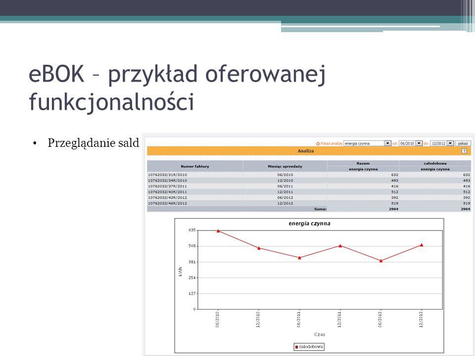 eBOK – przykład oferowanej funkcjonalności Przeglądanie sald