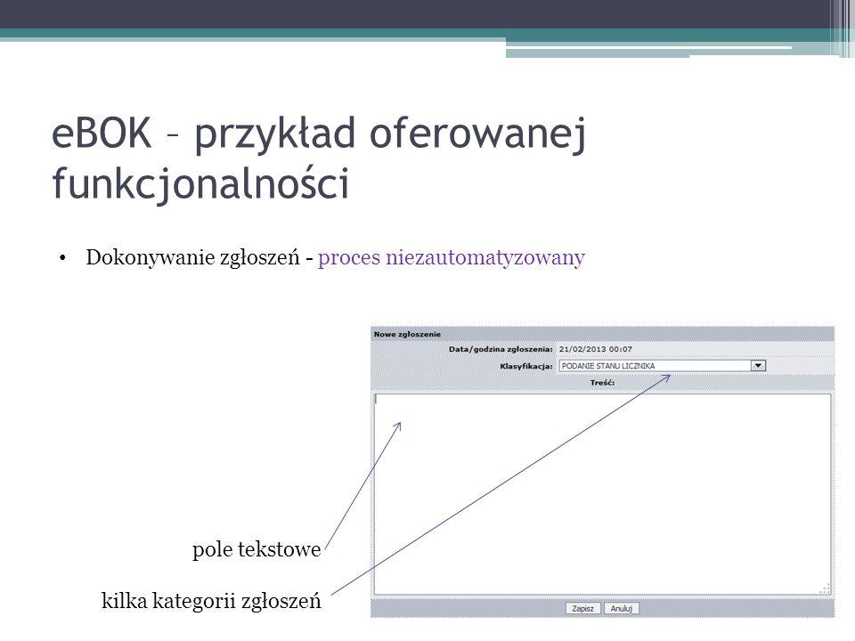 eBOK – przykład oferowanej funkcjonalności Dokonywanie zgłoszeń - proces niezautomatyzowany pole tekstowe kilka kategorii zgłoszeń