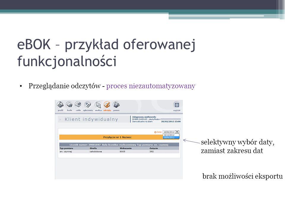 eBOK – przykład oferowanej funkcjonalności Przeglądanie odczytów - proces niezautomatyzowany selektywny wybór daty, zamiast zakresu dat brak możliwości eksportu