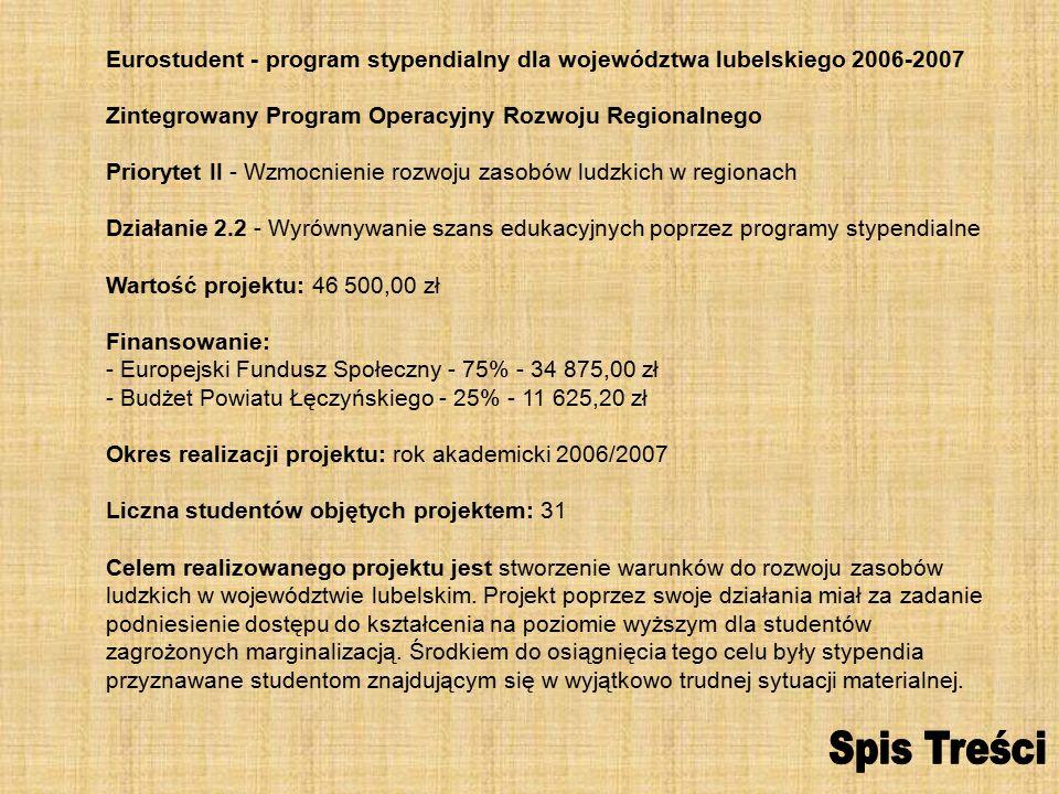 Eurostudent - program stypendialny dla województwa lubelskiego 2006-2007 Zintegrowany Program Operacyjny Rozwoju Regionalnego Priorytet II - Wzmocnienie rozwoju zasobów ludzkich w regionach Działanie 2.2 - Wyrównywanie szans edukacyjnych poprzez programy stypendialne Wartość projektu: 46 500,00 zł Finansowanie: - Europejski Fundusz Społeczny - 75% - 34 875,00 zł - Budżet Powiatu Łęczyńskiego - 25% - 11 625,20 zł Okres realizacji projektu: rok akademicki 2006/2007 Liczna studentów objętych projektem: 31 Celem realizowanego projektu jest stworzenie warunków do rozwoju zasobów ludzkich w województwie lubelskim.