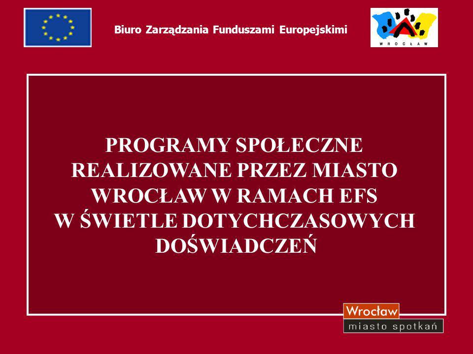 1 PROGRAMY SPOŁECZNE REALIZOWANE PRZEZ MIASTO WROCŁAW W RAMACH EFS W ŚWIETLE DOTYCHCZASOWYCH DOŚWIADCZEŃ Biuro Zarządzania Funduszami Europejskimi