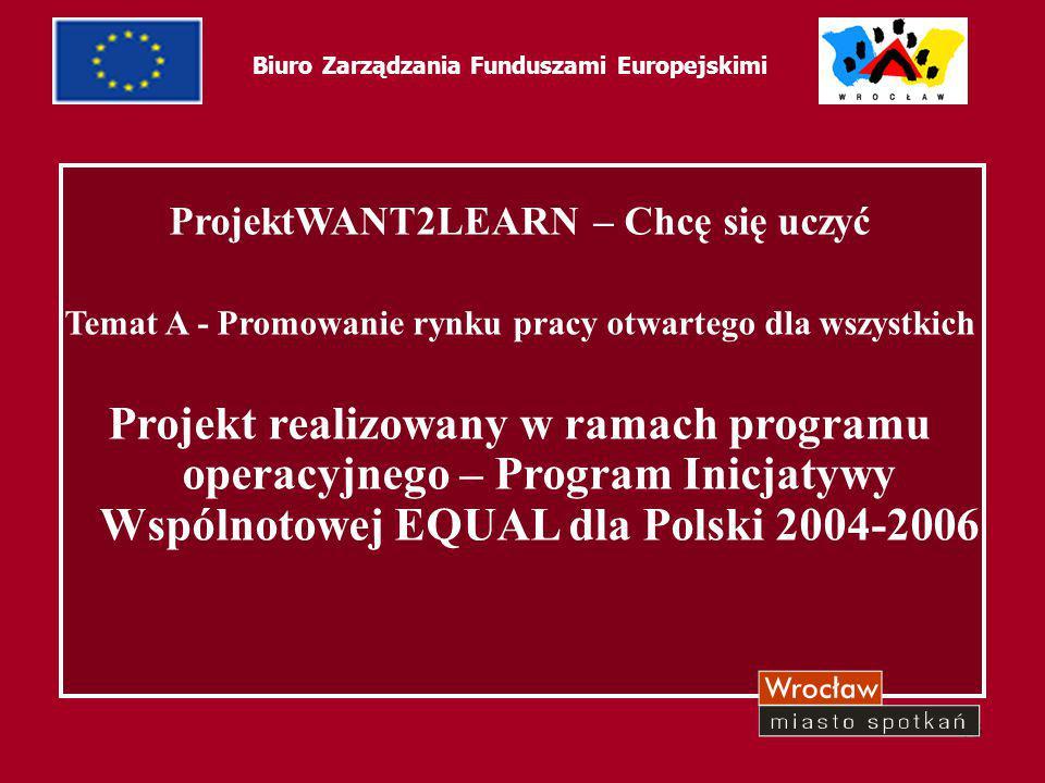 13 Biuro Zarządzania Funduszami Europejskimi ProjektWANT2LEARN – Chcę się uczyć Temat A - Promowanie rynku pracy otwartego dla wszystkich Projekt real
