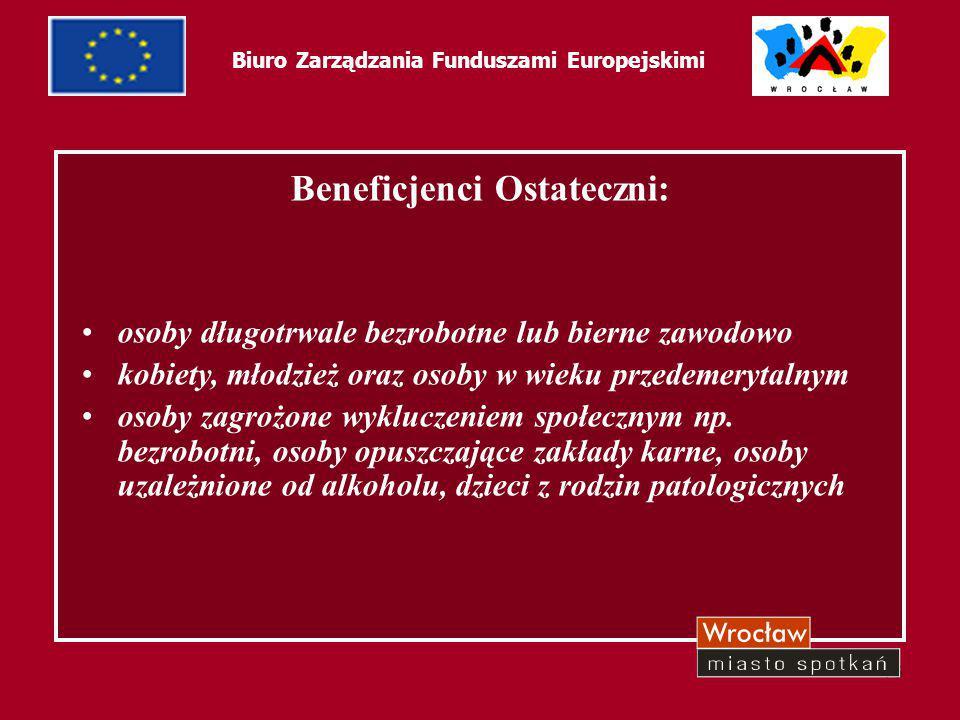 16 Biuro Zarządzania Funduszami Europejskimi Beneficjenci Ostateczni: osoby długotrwale bezrobotne lub bierne zawodowo kobiety, młodzież oraz osoby w