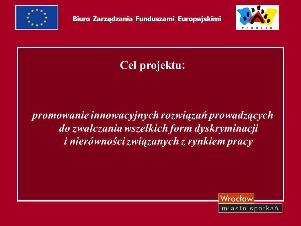 17 Biuro Zarządzania Funduszami Europejskimi Cel projektu : promowanie innowacyjnych rozwiązań prowadzących do zwalczania wszelkich form dyskryminacji