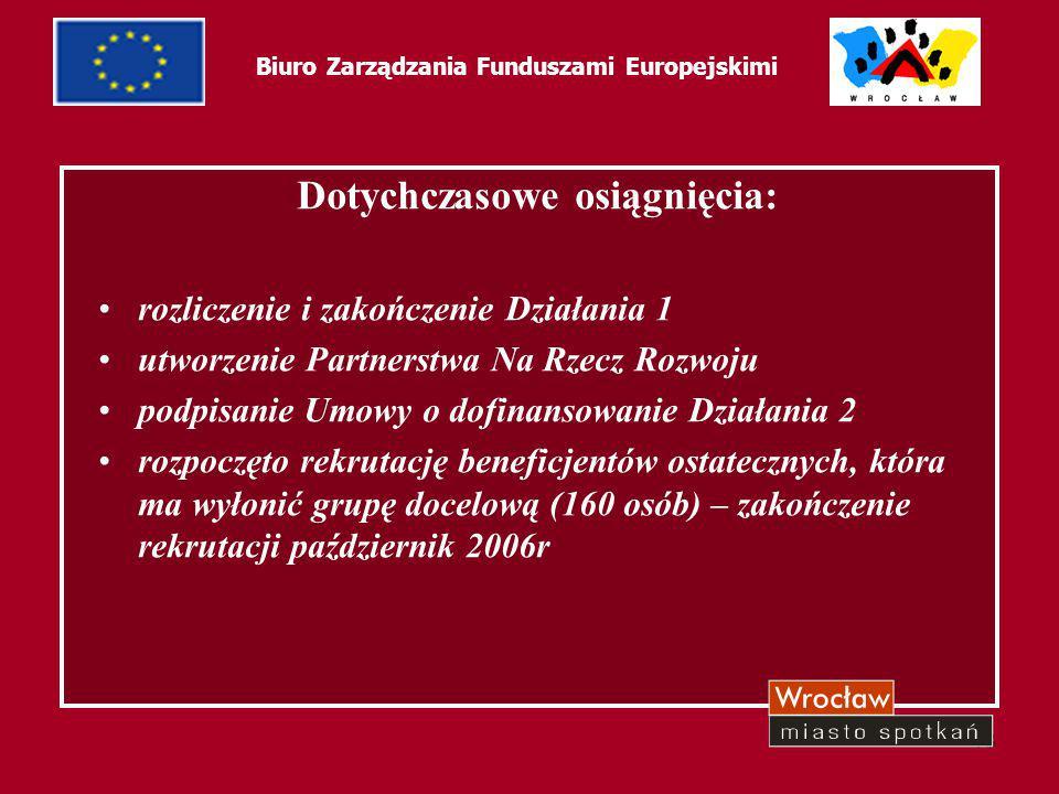 18 Biuro Zarządzania Funduszami Europejskimi Dotychczasowe osiągnięcia: rozliczenie i zakończenie Działania 1 utworzenie Partnerstwa Na Rzecz Rozwoju