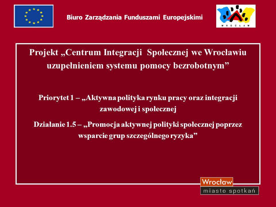 """19 Biuro Zarządzania Funduszami Europejskimi Projekt """"Centrum Integracji Społecznej we Wrocławiu uzupełnieniem systemu pomocy bezrobotnym"""" Priorytet 1"""