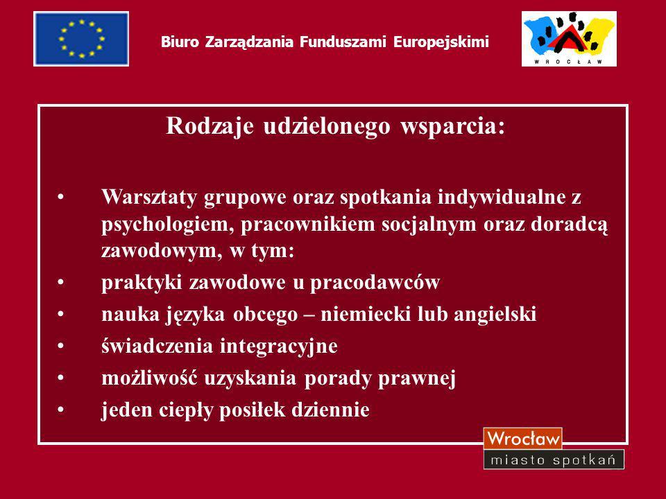 22 Biuro Zarządzania Funduszami Europejskimi Rodzaje udzielonego wsparcia: Warsztaty grupowe oraz spotkania indywidualne z psychologiem, pracownikiem