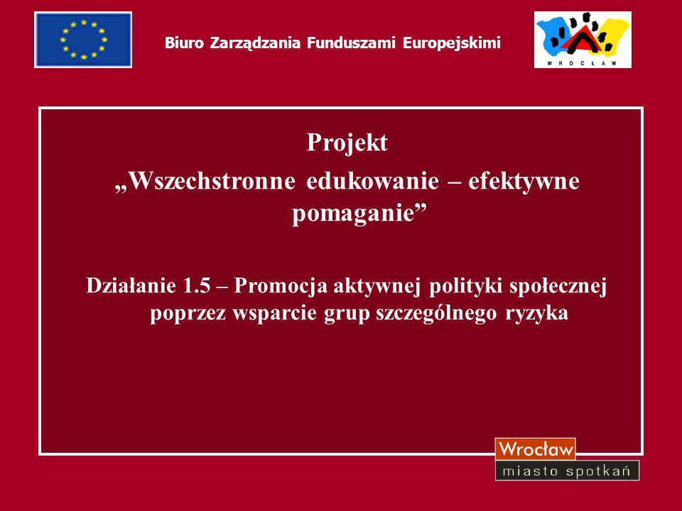 """24 Biuro Zarządzania Funduszami Europejskimi Projekt """"Wszechstronne edukowanie – efektywne pomaganie"""" Działanie 1.5 – Promocja aktywnej polityki społe"""