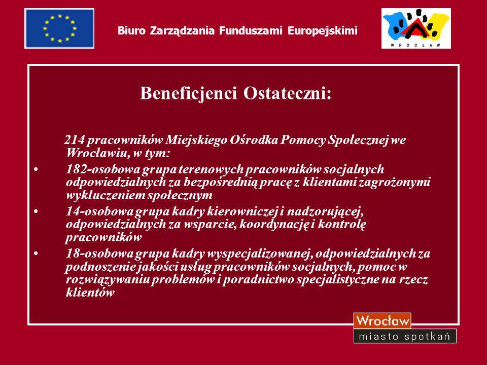 25 Biuro Zarządzania Funduszami Europejskimi Beneficjenci Ostateczni: 214 pracowników Miejskiego Ośrodka Pomocy Społecznej we Wrocławiu, w tym: 182-os