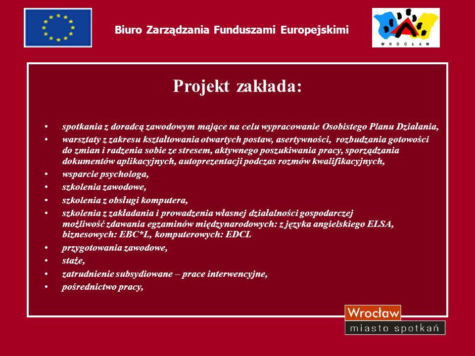 37 Biuro Zarządzania Funduszami Europejskimi Projekt zakłada: spotkania z doradcą zawodowym mające na celu wypracowanie Osobistego Planu Działania, wa