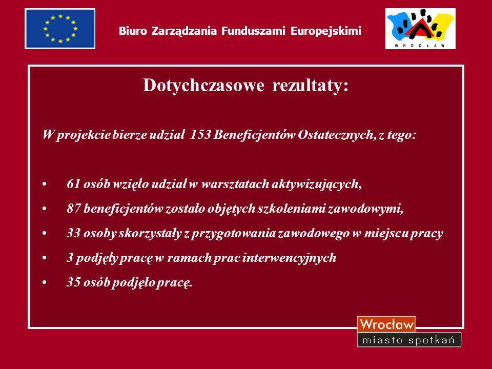 38 Biuro Zarządzania Funduszami Europejskimi Dotychczasowe rezultaty: W projekcie bierze udział 153 Beneficjentów Ostatecznych, z tego: 61 osób wzięło