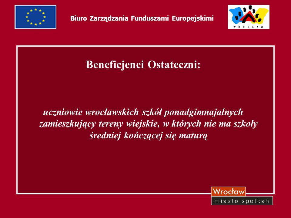 4 Biuro Zarządzania Funduszami Europejskimi Beneficjenci Ostateczni: uczniowie wrocławskich szkół ponadgimnajalnych zamieszkujący tereny wiejskie, w k