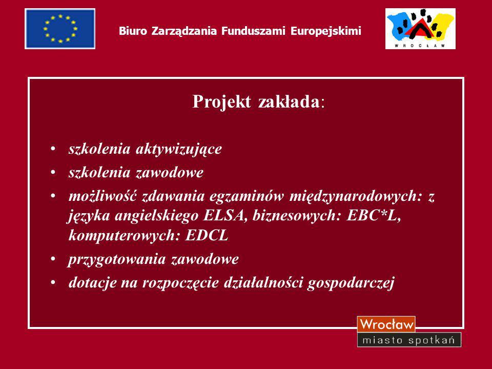 46 Biuro Zarządzania Funduszami Europejskimi Projekt zakłada: szkolenia aktywizujące szkolenia zawodowe możliwość zdawania egzaminów międzynarodowych: