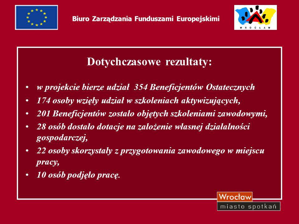 47 Biuro Zarządzania Funduszami Europejskimi Dotychczasowe rezultaty: w projekcie bierze udział 354 Beneficjentów Ostatecznych 174 osoby wzięły udział