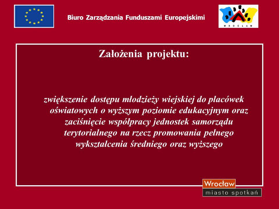 5 Biuro Zarządzania Funduszami Europejskimi Założenia projektu: zwiększenie dostępu młodzieży wiejskiej do placówek oświatowych o wyższym poziomie edu