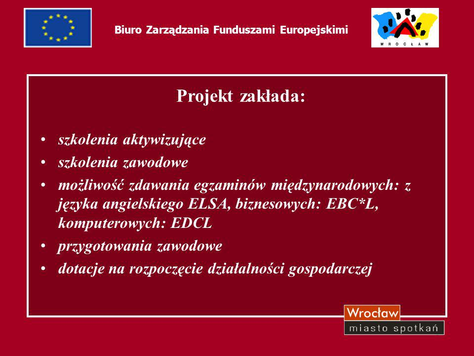 51 Biuro Zarządzania Funduszami Europejskimi Projekt zakłada: szkolenia aktywizujące szkolenia zawodowe możliwość zdawania egzaminów międzynarodowych: