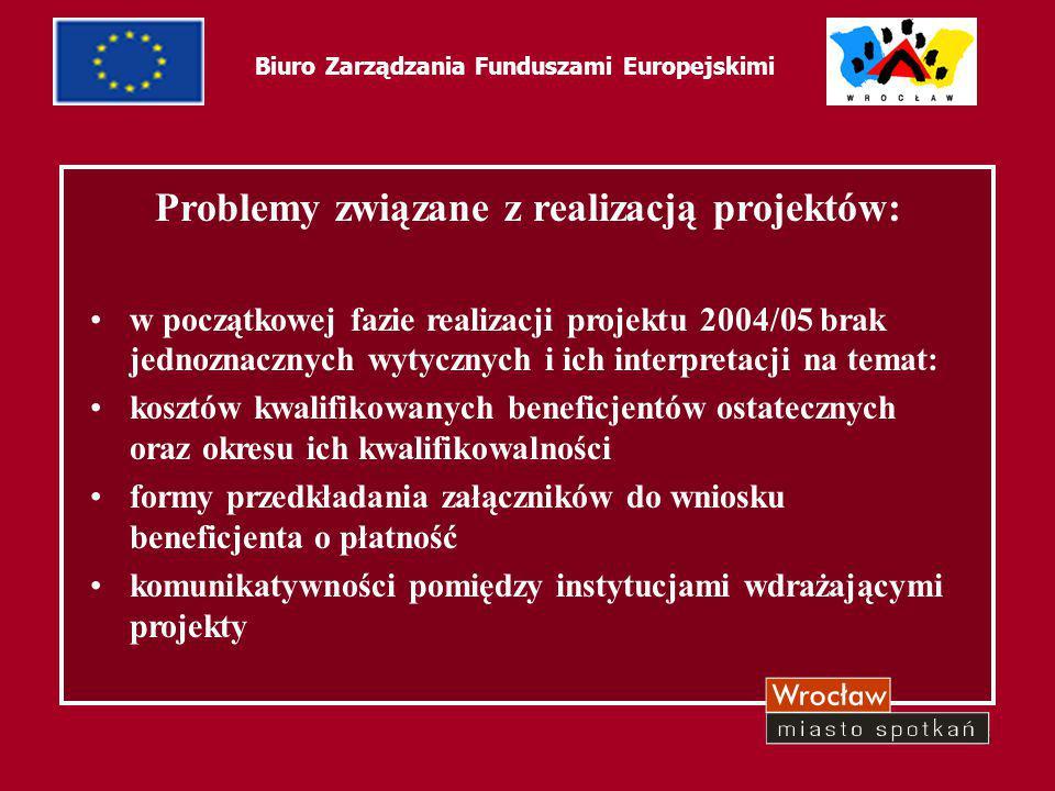 6 Biuro Zarządzania Funduszami Europejskimi Problemy związane z realizacją projektów: w początkowej fazie realizacji projektu 2004/05 brak jednoznaczn