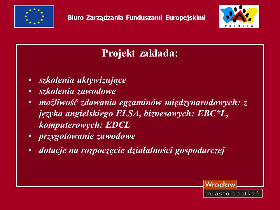 61 Biuro Zarządzania Funduszami Europejskimi Projekt zakłada: szkolenia aktywizujące szkolenia zawodowe możliwość zdawania egzaminów międzynarodowych: