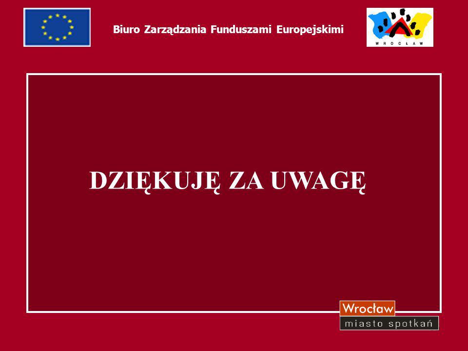 65 Biuro Zarządzania Funduszami Europejskimi DZIĘKUJĘ ZA UWAGĘ