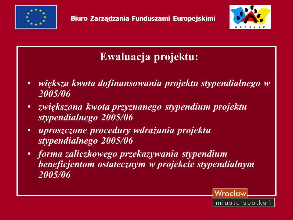 7 Biuro Zarządzania Funduszami Europejskimi Ewaluacja projektu: większa kwota dofinansowania projektu stypendialnego w 2005/06 zwiększona kwota przyzn