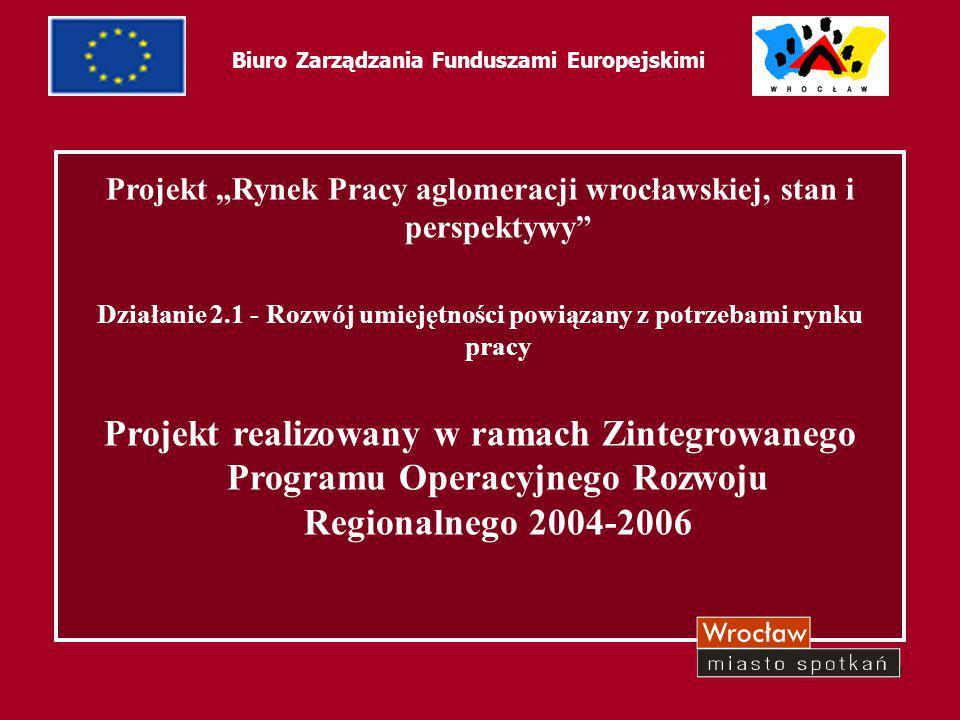 """9 Biuro Zarządzania Funduszami Europejskimi Projekt """"Rynek Pracy aglomeracji wrocławskiej, stan i perspektywy"""" Działanie 2.1 - Rozwój umiejętności pow"""