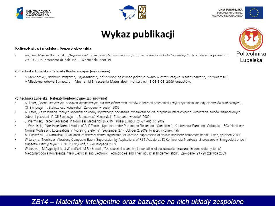 Wykaz publikacji Politechnika Lubelska - Prace doktorskie mgr inż.
