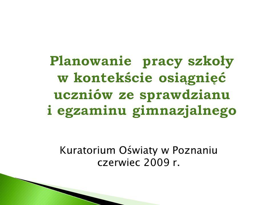  Skłonić do dyskusji na temat wykorzystania wyników sprawdzianu i egzaminu gimnazjalnego do planowania pracy szkoły.