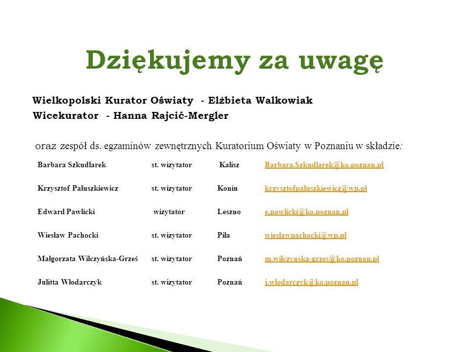Wielkopolski Kurator Oświaty - Elżbieta Walkowiak Wicekurator - Hanna Rajcić-Mergler oraz z espół ds. egzaminów zewnętrznych Kuratorium Oświaty w Pozn