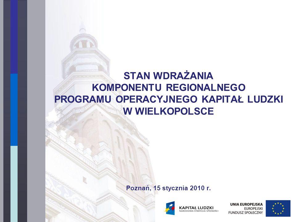 STAN WDRAŻANIA KOMPONENTU REGIONALNEGO PROGRAMU OPERACYJNEGO KAPITAŁ LUDZKI W WIELKOPOLSCE Poznań, 15 stycznia 2010 r.