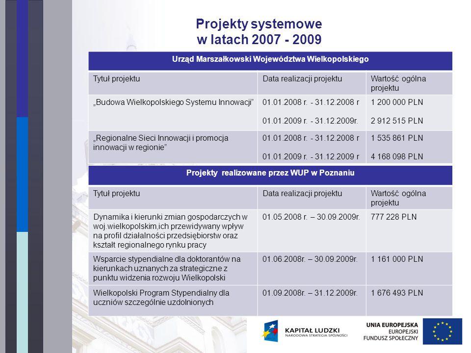 Projekty innowacyjne WUP w Poznaniu ogłosił w 2009 r.
